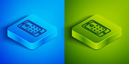 Isometric line Mobile phone and graphic password protection icon isolated on blue and green background. Security, personal access, user authorization. Square button. Vector Illustration. Vettoriali