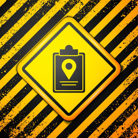 Black Folded map with location marker icon isolated on yellow background. Warning sign. Vector Illustration.