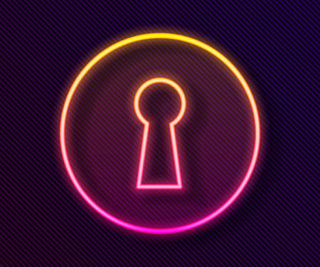 Glowing neon line Keyhole icon isolated on black background. Key of success solution. Keyhole express the concept of riddle, secret, security. Vector Illustration.