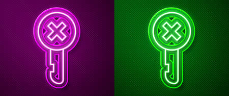 Glowing neon line Wrong key icon isolated on purple and green background. Vector Illustration. Illustration