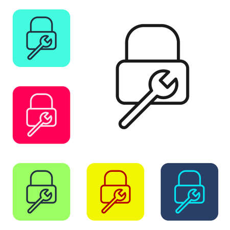 Black line Lock repair icon isolated on white background. Padlock sign. Security, safety, protection, privacy concept. Set icons in color square buttons. Vector Illustration. Иллюстрация