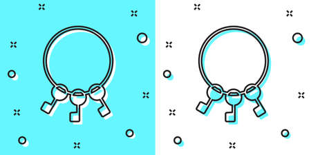 Black line Bunch of keys icon isolated on green and white background. Random dynamic shapes. Vector Illustration.