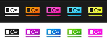 Set Key card icon isolated on black and white background. Vector Illustration.