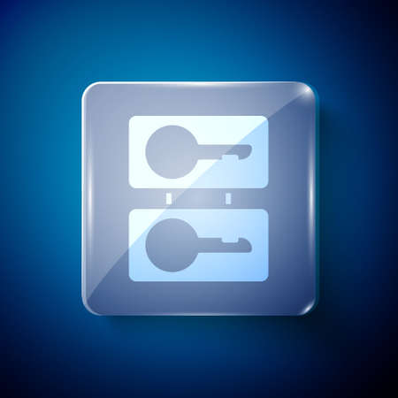 White Metal mold plates for casting keys icon isolated on blue background. Set for mass production and forgery of the keys. Square glass panels. Vector Illustration.