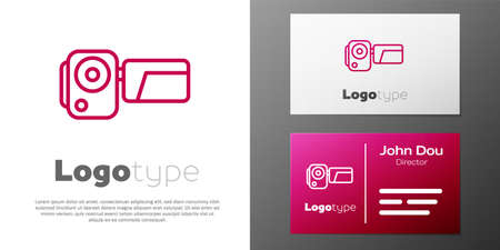 Logotype line Cinema camera icon isolated on white background. Video camera. Movie sign. Film projector.