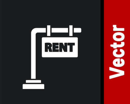 White Hanging sign with text Rent icon isolated on black background. Signboard with text For Rent. Vector Illustration. Illusztráció