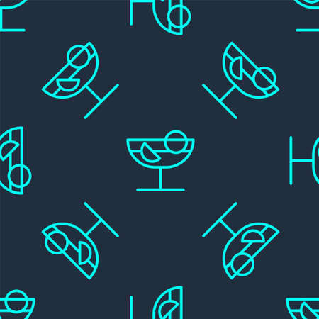 Green line Cocktail icon isolated seamless pattern on blue background. Vector Illustration.