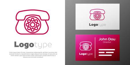 Logotype line Telephone icon isolated on white background. Landline phone.