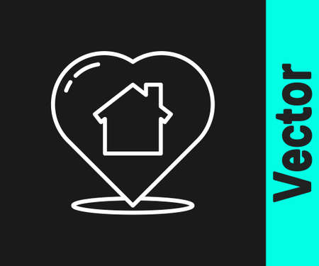 White line House with heart shape icon isolated on black background. Love home symbol. Family, real estate and realty. Vector Illustration.