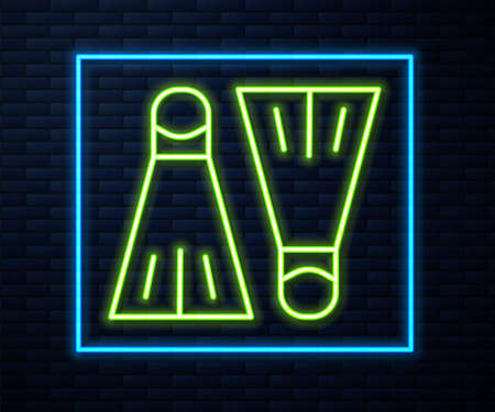 Glowing neon line Rubber flippers for swimming icon isolated on brick wall background. Diving equipment. Extreme sport. Sport equipment. Vector Illustration.