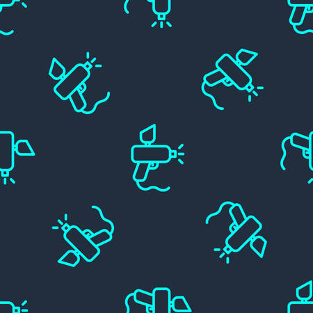 Green line Paint spray gun icon isolated seamless pattern on blue background. Vector Illustration.
