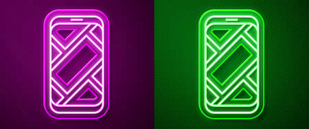 Glowing neon line Infographic of city map navigation icon isolated on purple and green background. Mobile App Interface concept design. Geolacation concept. Vector Illustration.