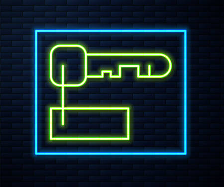 Glowing neon line Marked key icon isolated on brick wall background. Vector Illustration. Illustration