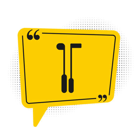 Black Golf club icon isolated on white background. Yellow speech bubble symbol. Vector Illustration