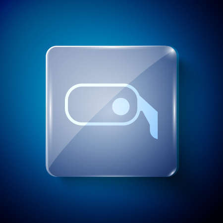 White Car rearview mirror icon isolated on blue background. Square glass panels. Vector Illustration