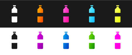 Set Bottle of water icon isolated on black and white background. Soda aqua drink sign. Vector Illustration. 矢量图像