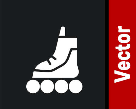 White Roller skate icon isolated on black background. Vector Illustration
