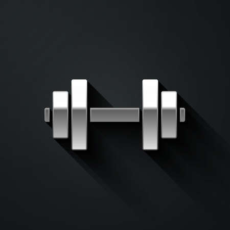 Silver Dumbbell icon isolated on black background. Muscle lifting icon, fitness barbell, gym, sports equipment, exercise bumbbell. Long shadow style. Vector Illustration.