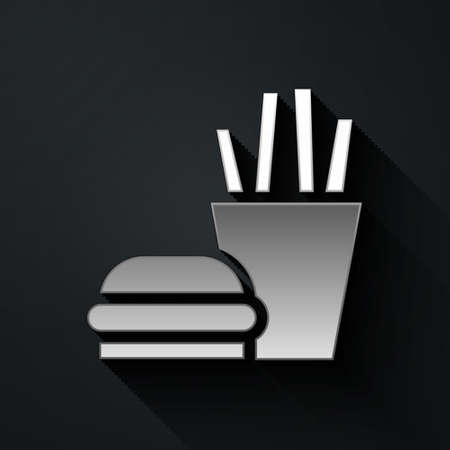 Silver Burger and french fries in carton package box icon isolated on black background. Hamburger, cheeseburger sandwich. Fast food. Long shadow style. Vector Illustration. Ilustração