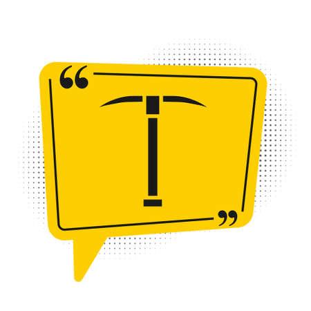 Black Pickaxe icon isolated on white background. Yellow speech bubble symbol. Vector Illustration. Çizim