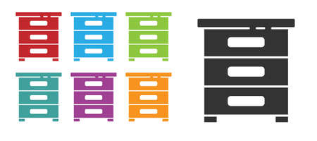 Black Drawer with documents icon isolated on white background. Archive papers drawer. File Cabinet Drawer. Office furniture. Set icons colorful. Vector Illustration