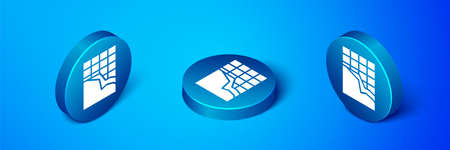 Isometric Chocolate bar icon isolated on blue background. Blue circle button. Vector Illustration
