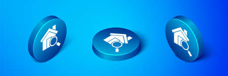 Isometric Search house icon isolated on blue background. Real estate symbol of a house under magnifying glass. Blue circle button. Vector Illustration