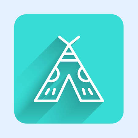 White line Traditional indian teepee or wigwam icon isolated with long shadow. Indian tent. Green square button. Vector Illustration