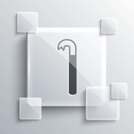 Grey Crowbar icon isolated on grey background. Square glass panels. Vector Illustration