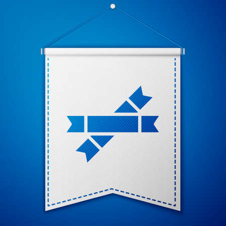 Blue Sugar stick packets icon isolated on blue background. Blank individual package for bulk food products as coffee, salt, spices. White pennant template. Vector Illustration