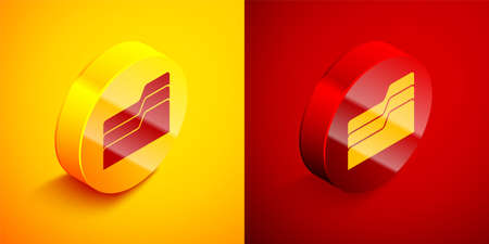 Isometric Document folder icon isolated on orange and red background. Accounting binder symbol. Bookkeeping management. Circle button. Vector Illustration