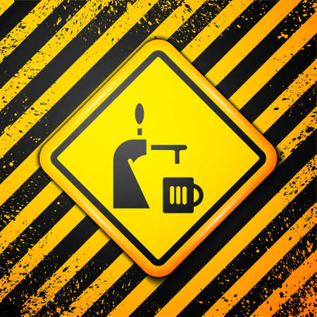 Black Beer tap with glass icon isolated on yellow background. Warning sign. Vector Illustration.