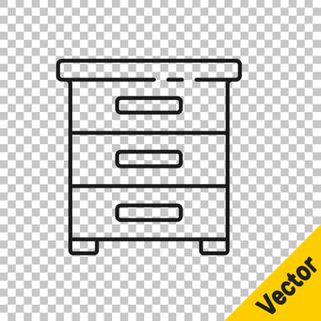 Black line Drawer with documents icon isolated on transparent background. Archive papers drawer. File Cabinet Drawer. Office furniture. Vector Illustration.
