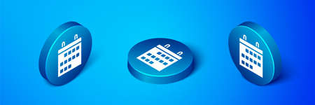 Isometric Calendar icon isolated on blue background. Event reminder symbol. Blue circle button. Vector Illustration