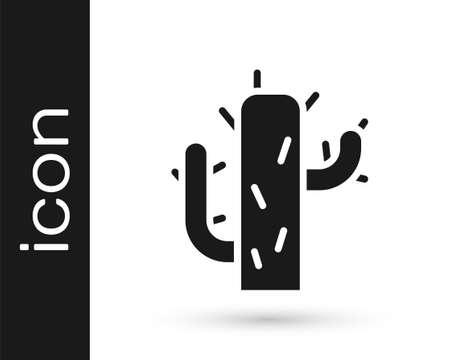 Grey Cactus icon isolated on white background. Vector Illustration