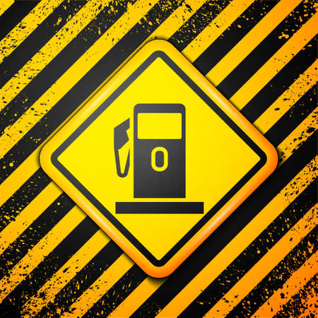 Black Petrol or Gas station icon isolated on yellow background. Car fuel symbol. Gasoline pump. Warning sign. Vector Illustration.