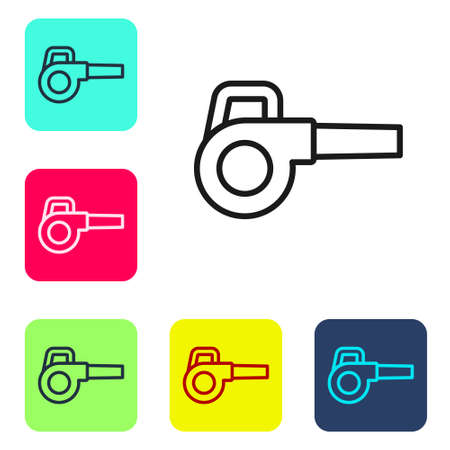 Black line Leaf garden blower icon isolated on white background. Set icons in color square buttons. Vector Illustration Vector Illustratie