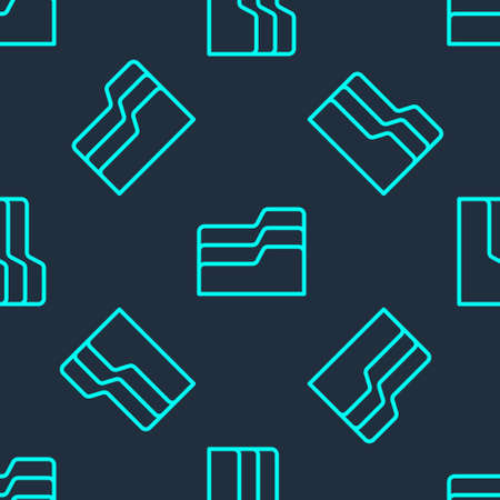 Green line Document folder icon isolated seamless pattern on blue background. Accounting binder symbol. Bookkeeping management. Vector Illustration
