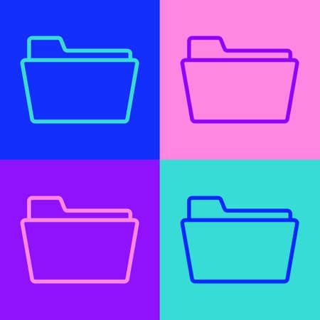 Pop art line Document folder icon isolated on color background. Accounting binder symbol. Bookkeeping management. Vector Illustration. Ilustracja