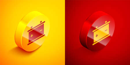 Isometric Car battery icon isolated on orange and red background. Accumulator battery energy power and electricity accumulator battery. Circle button. Vector Illustration.