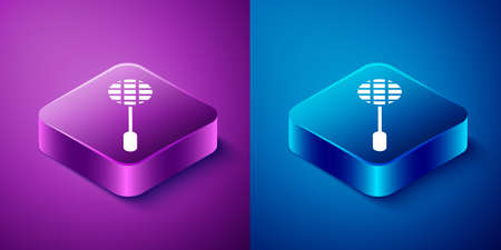 Isometric Tennis racket icon isolated on blue and purple background. Sport equipment. Square button. Vector Illustration.