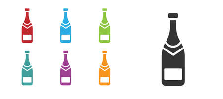 Black Champagne bottle icon isolated on white background. Set icons colorful. Vector Illustration.
