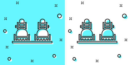 Black line Snowboard icon isolated on green and white background. Snowboarding board icon. Extreme sport. Sport equipment. Random dynamic shapes. Vector Illustration. 向量圖像
