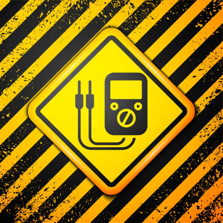 Black Ampere meter, multimeter, voltmeter icon isolated on yellow background. Instruments for measurement of electric current. Warning sign. Vector Illustration