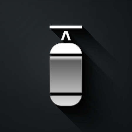 Silver Punching bag icon isolated on black background. Long shadow style. Vector Illustration