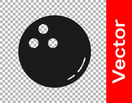 Black Bowling ball icon isolated on transparent background. Sport equipment. Vector Illustration.