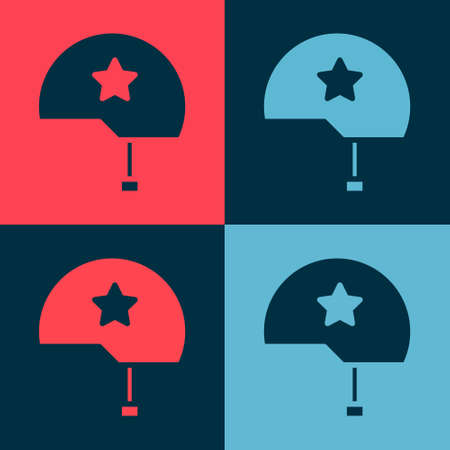 Pop art Military helmet icon isolated on color background. Army hat symbol of defense and protect. Protective hat. Vector Illustration