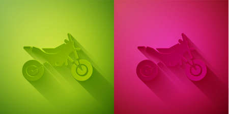 Paper cut Mountain bike icon isolated on green and pink background. Paper art style. Vector Illustration