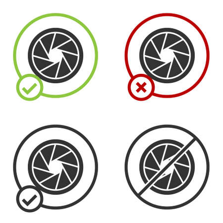 Black Camera shutter icon isolated on white background. Circle button. Vector Illustration 向量圖像