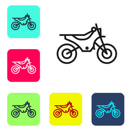 Black line Mountain bike icon isolated on white background. Set icons in color square buttons. Vector Illustration.